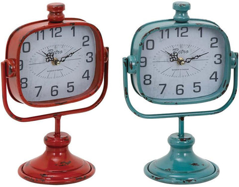 Benzara 34895 Durable Metal Clock In Red And Green Color - Set Of 2