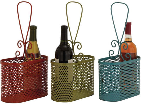 Benzara 34955 The Lovely Metal Wine Basket 3 Assorted