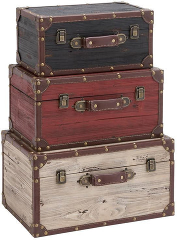 Benzara 35023 Wooden And Leather Trunk - Black, Red, White (Set Of 3) By Benzara