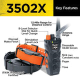 Dogtra 3502X Long Range IPX9K Waterproof 1.5-Mile 2-Dog Expandable Dual Dial Remote Trainer