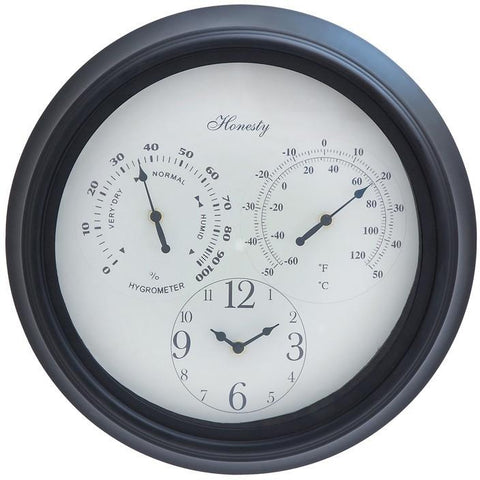 Benzara 35431 Outdoor Clock Detailed With Bold Numerals In Black Font