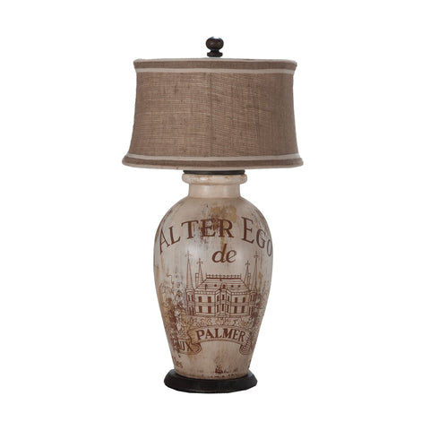 Guildmaster GUI-355016-1 Terra Cotta Collection Handpainted Alter Ego De Palmer Wine Label,Heritage Grey Stain Finish Table Lamp