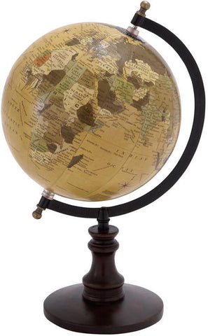 Benzara 38117 Sophisticated Wooden And Metal Globe With Black Base