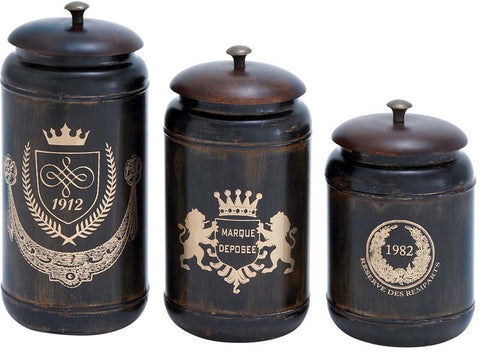 Benzara 38121 Canisters With Cylindrical Jars & Matching Lids - Set Of 3