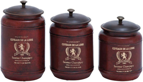 Benzara 38137 Canisters In Red Shade With Transitional Style - Set Of 3