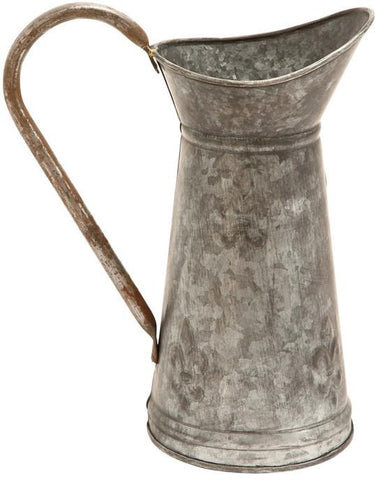Benzara 38177 Galvanized Watering Jug With A Slender Wide Handle