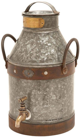 Benzara 38178 Metal Galvanized Milk Can With Rust Finished Handles