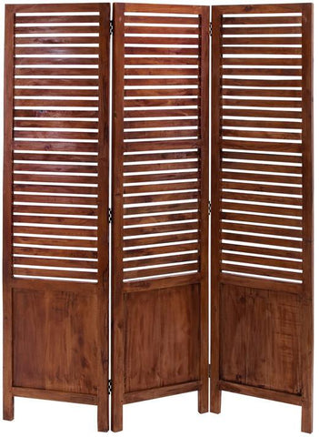 Benzara 38315 Traditional Wooden Three Panel Screen With Sophisticated Look