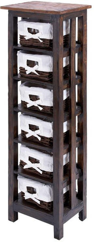 Benzara 38320 Traditional Wooden Rattan Storage Table With 6 Shelves