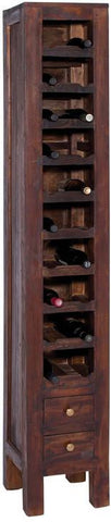 Benzara 38344 Stately Wood Mahogany Wine Rack With Two Pullout Drawers At The Base