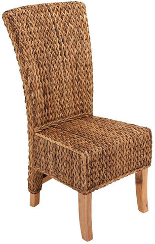Benzara 38416 Mahogany Abaca Leaf Chair With Light Brown Coating & Back Rest