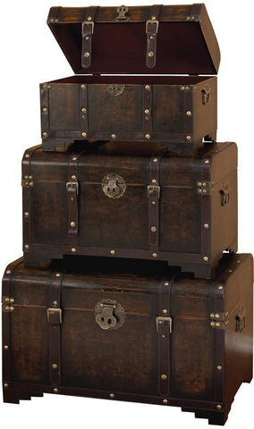 Benzara 39409 Wood Leather Trunk S/3 Set Of Three Usable Leather Trunk