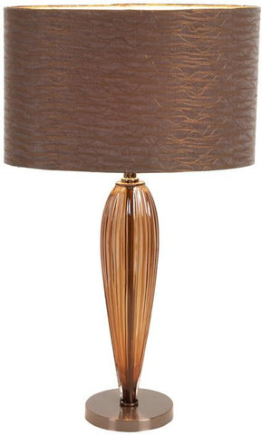 Benzara 40076 Glass Metal Table Lamp With Round Base With Glass Shade