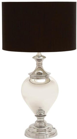 Benzara 40145 Glass Metal Table Lamp With Simple And Sophisticated Design