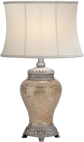 Benzara 40159 Polished Stone Long Lasting Mosaic Table Lamp In White Shade