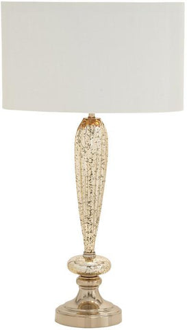 Benzara 40191 Rustic And Timeless Glass Metal Table Lamp