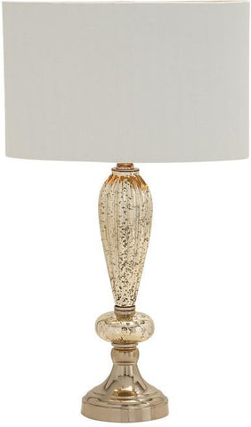 Benzara 40192 Suave And Edgy Glass Metal Table Lamp