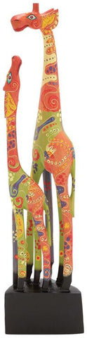 Benzara 40357 Multicolored Shades Attractive Wood Giraffe