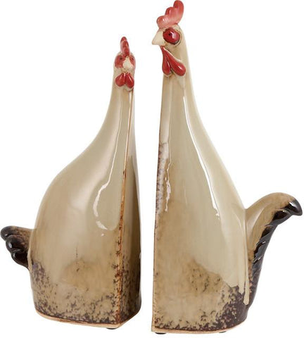 Benzara 40840 Carbonized Ceramic Rooster With True Colors - Set Of 2