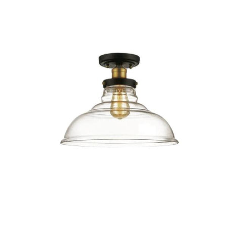 Dainolite 410-131SF-BAB 1LT Semi Flush Mount, Black/Antique Brass