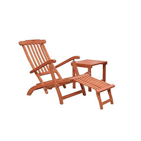 Malibu V1802SET3 Wood Outdoor Patio 2-Piece Chaise Lounge Set, Natural Wood