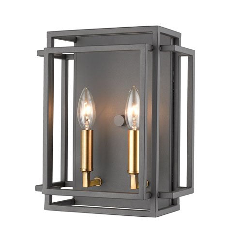 2 Light Wall Sconce in Bronze and Olde Brass Finish