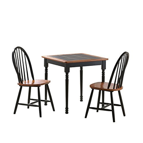3-Pc Square Tile Top Dining Set in Black and Cherry Finish