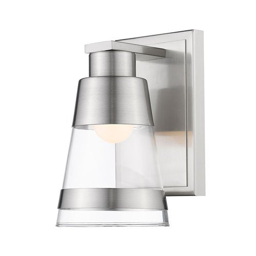 1 Light Steel Wall Sconce with Clear Glass Shade