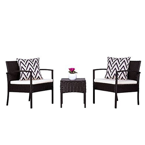 Vifah V1813 Outdoor/Indoor Patio Garden Wicker Coffee Set, Black