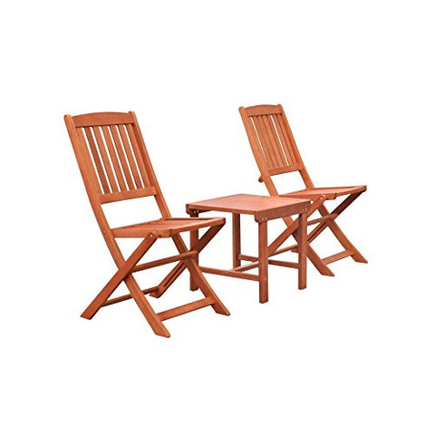 Malibu C V1802SET12 Outdoor Patio 3 Piece Dining Set, Natural Wood