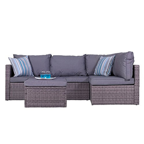 Vifah V1815 Outdoor/Indoor Patio Garden Wicker Rattan Sectional Sofa Set, Black