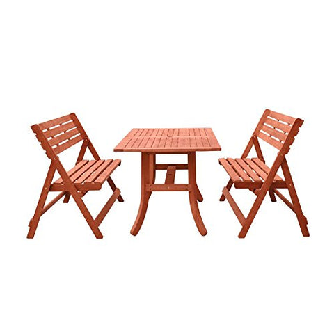 Malibu V1802SET2 Outdoor Patio Wood 3-Piece Beach and Pool Lounge Set, Natural Wood