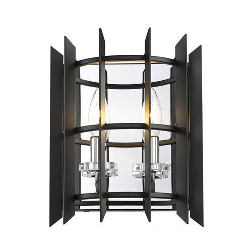 2 Light Steel Wall Sconce in Chrome Finish