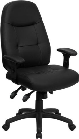 Flash Furniture BT-2350-BK-EMB-GG Embroidered High Back Black Leather Executive Office Chair - Peazz Furniture