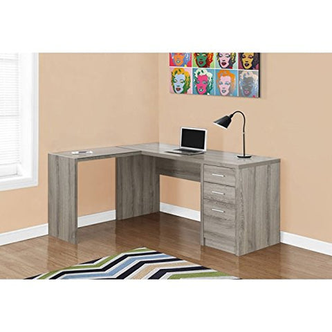 Monarch Specialties I 7138 Dark Taupe Corner with Tempered Glass Computer Desk