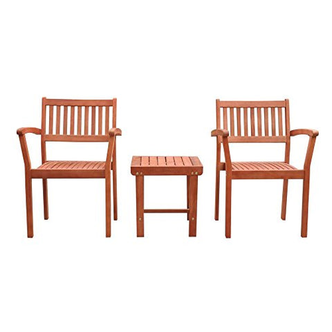Malibu C V1802SET5 Outdoor Patio 3-Piece Wood Dining Set with Stacking Chair, Natural Wood
