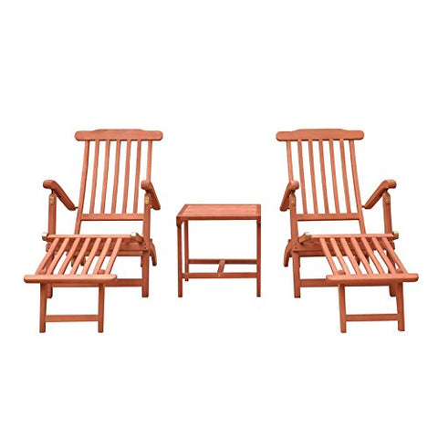 Malibu V1802SET4 Wood Outdoor Patio Chaise Lounge Set (3 Piece), Natural Wood