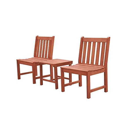 Malibu V1802SET11 Outdoor Patio 3 Piece Dining Set, Natural Wood