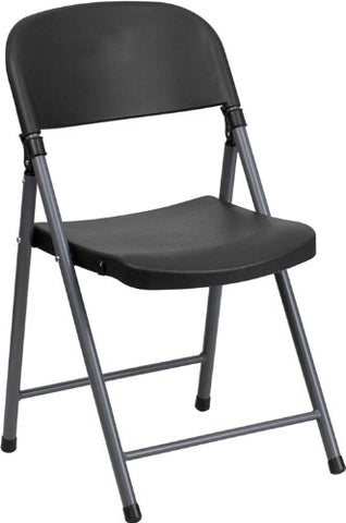 Black Plastic Folding Chair with Charcoal Frame DAD-YCD-50-GG by Flash Furniture - Peazz Furniture