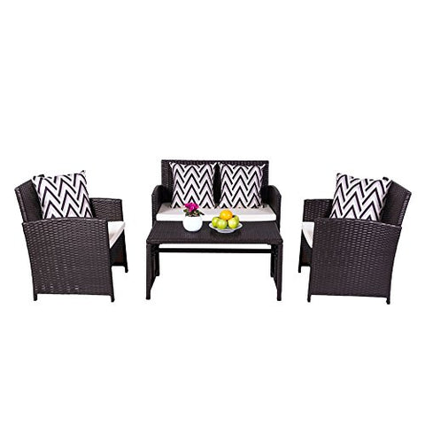 Vifah V1814 Outdoor/Indoor Patio Garden Wicker Dining and Coffee Set, Black