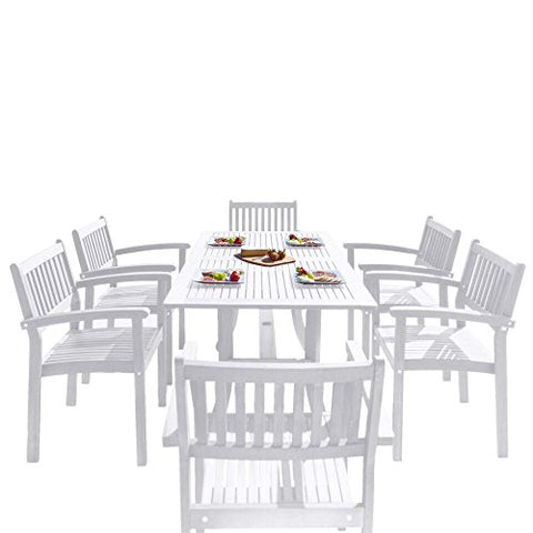 Vifah V1337SET26 Bradley Outdoor Patio Wood 7-Piece Dining Set with Stacking Chairs, White
