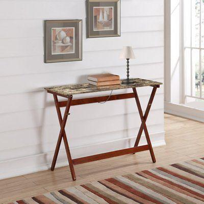 Linon 430337TIL01U Faux Tile Top Folding Buffet Tray Table