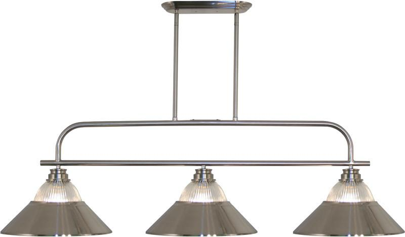 Z-Lite 437-3BN-RBN 3 Light Island/Billiard Light Annora Collection Clear Ribbed Glass & Brushed Nickel Finish