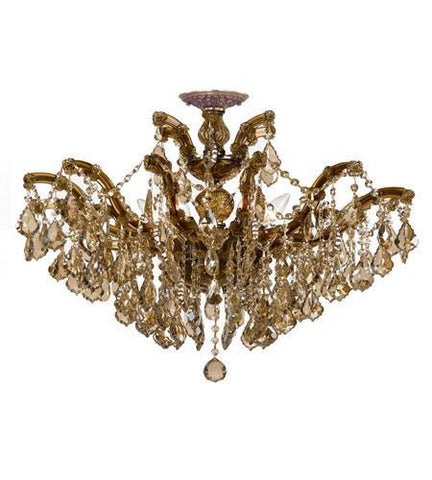 Crystorama 4439-AB-GT-MWP_CEILING Maria Theresa 6 Light Golden Teak Crystal Brass Semi-Flush II - PeazzLighting