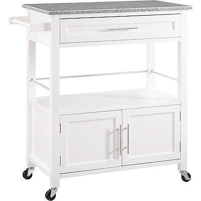 Bayden Hill 464809WHT01U Cameron White Kitchen Cart With Granite Top