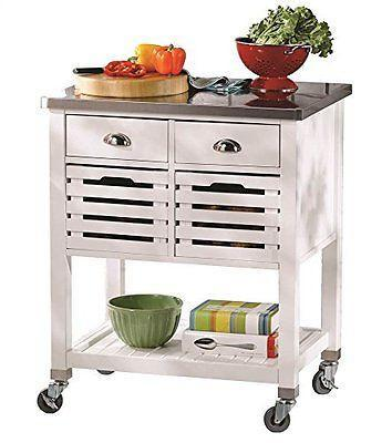 Bayden Hill 464810WHT01U Robbin Kitchen Cart