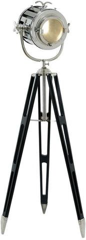 Benzara 46681 Tripod Spot Light With Silvery Metallic Finish