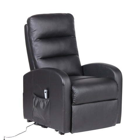 Chintaly 4766-CHR-BLK Adjustable lift recliner with electric motor w/ remote
