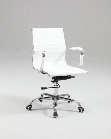 Chintaly 4918-CCH-WHT Upholstered Back, Adjustable Office Chair