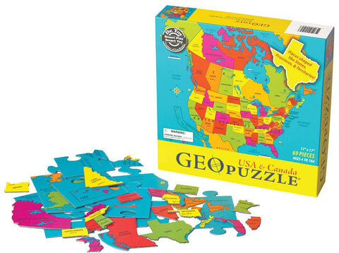 GeoToys TGEO-04 GeoPuzzle United States and Canada Educational Geography - Peazz.com